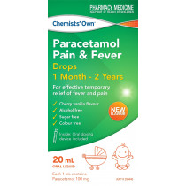 Chemists Own Paracetamol Colour Free Drops  1 Month - 2 Years 20ml