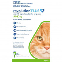 Revolution Plus for Large Cats 5.1 - 10kg Green 6 Pack