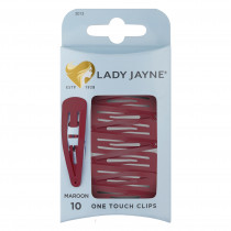 Lady Jayne One Touch Clip Maroon 10 Pack