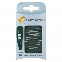 Lady Jayne One Touch Clip Green 10 Pack