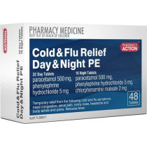 Pharmacy Action Cold & Flu Relief PE Day & Night 48 Tablets