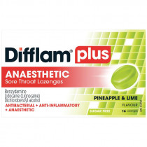Difflam Plus Sore Throat Lozenges + Anaesthetic Pineapple & Lime 16 Lozenges