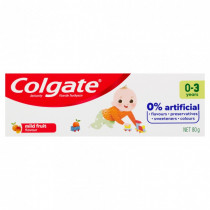 Colgate 0% Artificial Anticavity Fluoride baby Toothpaste 0-3 Years Mild Fruit 80g
