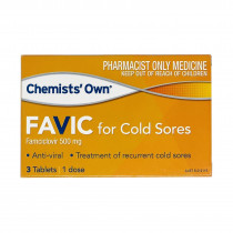 Chemists Own Favic For Cold Sores 500mg 3 Tablets