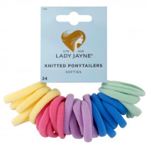 Lady Jayne Pastel Soft Knitted Ponytailers 24 Pack