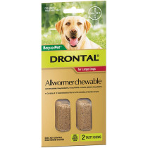 Drontal Dog Allwormer Chewable Large 35kg Dogs 2 Pack