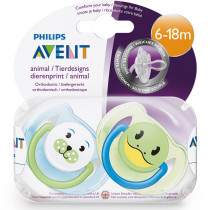Avent Classic Animal Soother 6-18m+ 2 Pack (Colour May Vary)