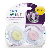 Avent Classic Translucent Soother 0-6m+ 2 Pack (Colour May Vary)