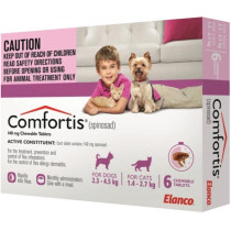 Comfortis Chewable Tablets Pink For Cats & Dogs 6 Pack