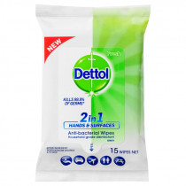 Dettol 2 in 1 Hands & Surfaces Anti-Bacterial Wipes 15 Wipes