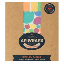 Apiwraps Reusable Beeswax Wraps - Kitchen Basics 3 Pack