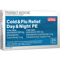 Pharmacy Action Cold & Flu Relief Day & Night PE 24 Tablets