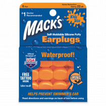 Macks Soft Moldable Silicone Putty Ear Plugs Kids Size 6 Pair