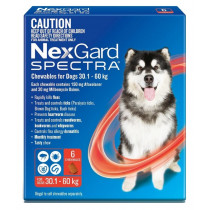 Nexgard Spectra Chewables For Very Large Small Dogs 30.1 - 60kg Red 6 Pack