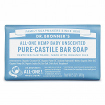 Dr. Bronners Pure-Castile Baby Bar Soap Unscented 140g