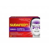 Sudafed PE Sinus Allergy & Pain Relief 48 Tablets