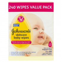 Johnsons Baby Skincare Wipes Fragrance Free 240 Wipes (3 x 80)