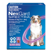 Nexgard Spectra Chewables For Large Dogs 15.1 - 30kg - Purple 6 Pack