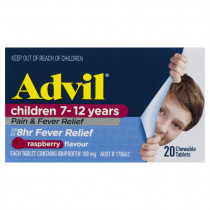 Advil Childrens Pain & Fever Relief Chewable 7-12 Years Raspberry 20 Tablets