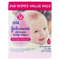Johnsons Baby Skincare Wipes Lightly Fragranced 240 Wipes (3 x 80)