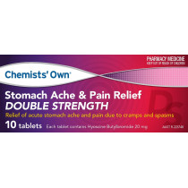 Chemists Own Stomach Ache & Pain Relief Double Strength 20mg 10 Tablets