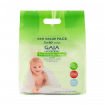 GAIA Natural Baby Bamboo Wipes 240 Value Pack